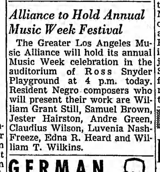 Edna Heard - Alliance to Hold Annual Music Week Festival The...