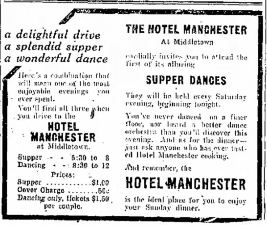 1923 Hotel Manchester Ad - my me relieves as by EO for a delightful drive...