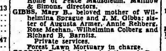 Death of Mary B. Gibbs - & Simons, directors. GIBBS. Marr B.. beloved...