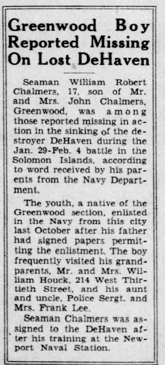 wm chalmers - Greenwood Boy Reported Missing On Lost ,...