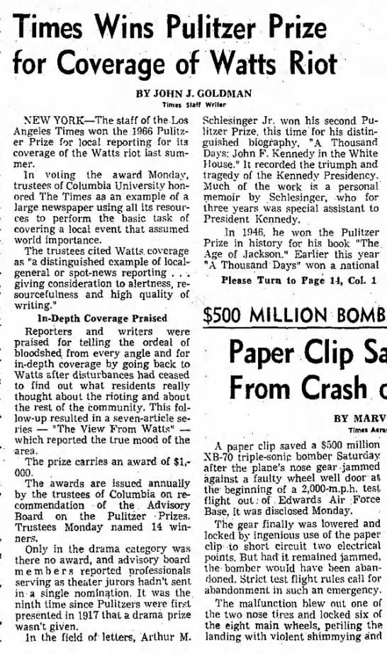 Los Angeles Times wins 1966 Pulitzer for coverage of the Watts Riots - Times Wins Pulitzer Prize for Coverage of Watts...