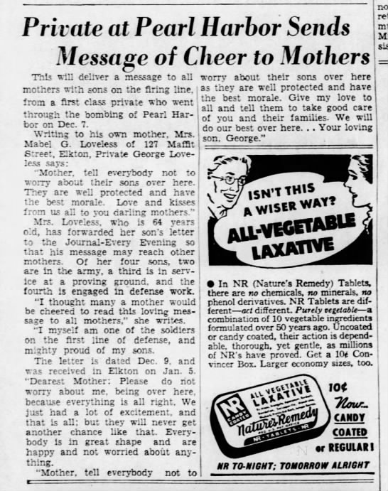WWII letter home: 1942 - Private at Pearl Harbor Sends Message of Cheer...