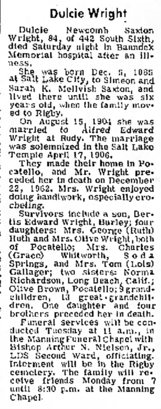 Obituary of Dulcie Newcomb Saxton Wright (1885-1969)