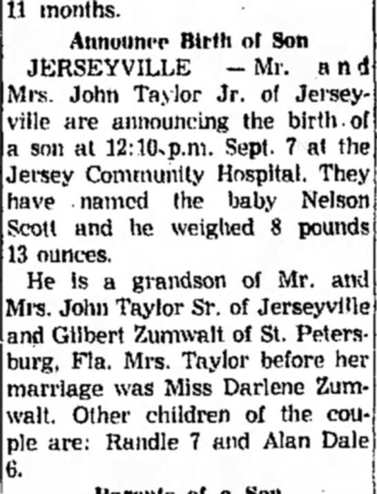 - 11 months. Announce Birth of Son JERSEYVILLE -...