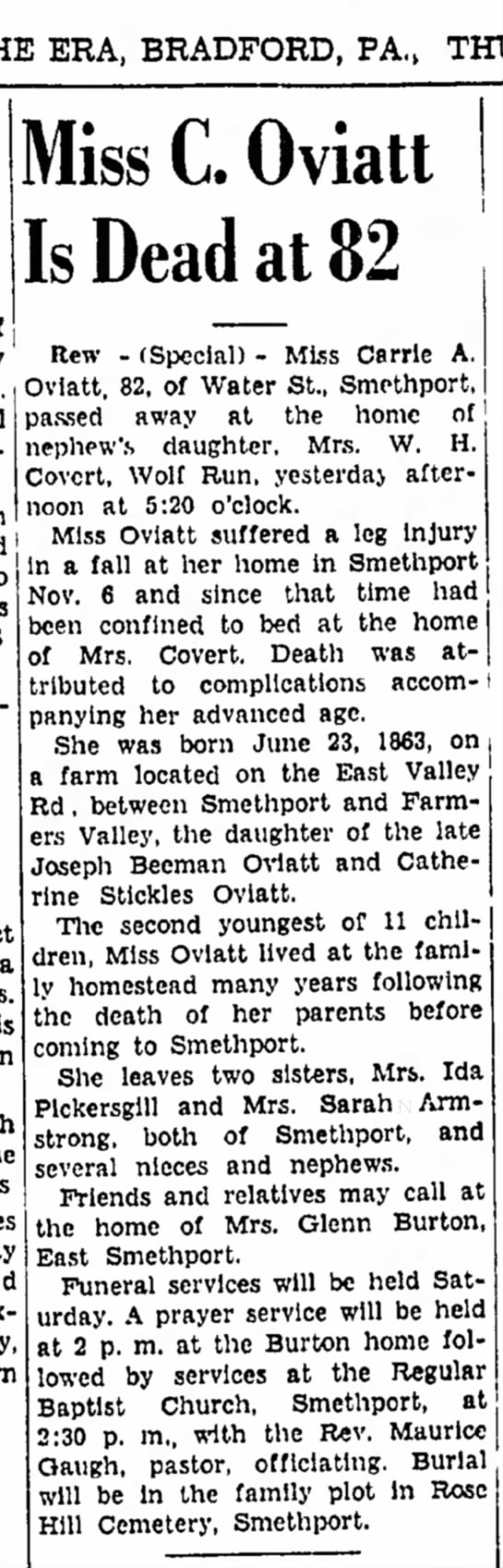 - ERA, BRADFORD, of Mrs. Miss C. Oviatt Is Dead...