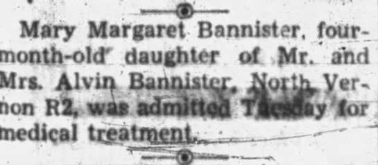 5 Jan 1955 Alvin Bannister - Mary Margaret Bannister, four-month-ol(T...