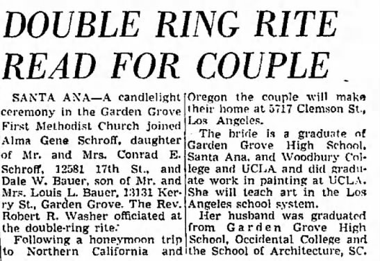 Dale W Bauer marriage Alma Gene Schroff - DOUBLE RING RITE READ FOR COUPLE SANTA ANA A...