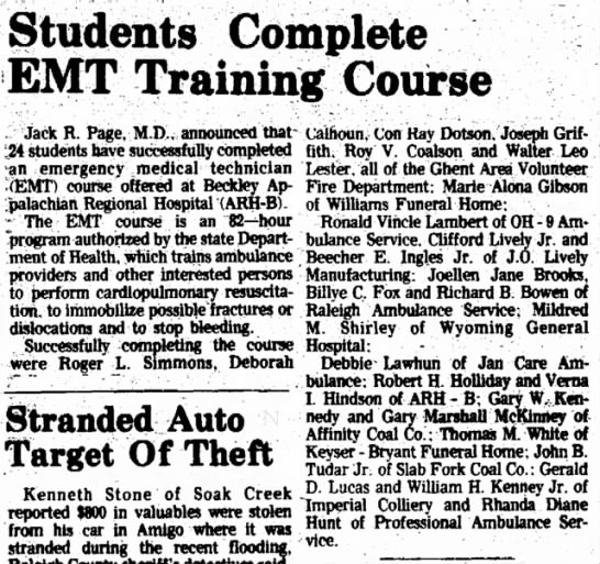 24 Students EMT Training Course at B.A.R.H. April 15 1977 - Students Complete EMT Training Course Jack R....