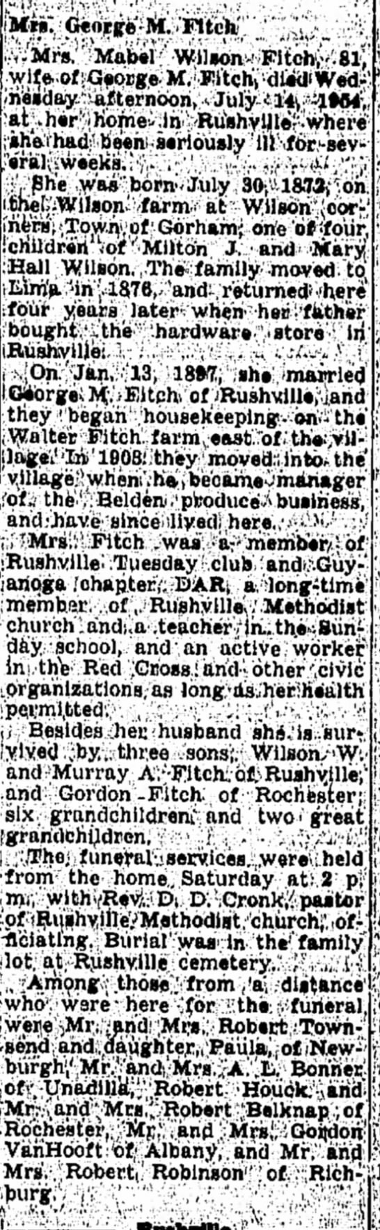 Mabel Wilson Fitch Obituary
