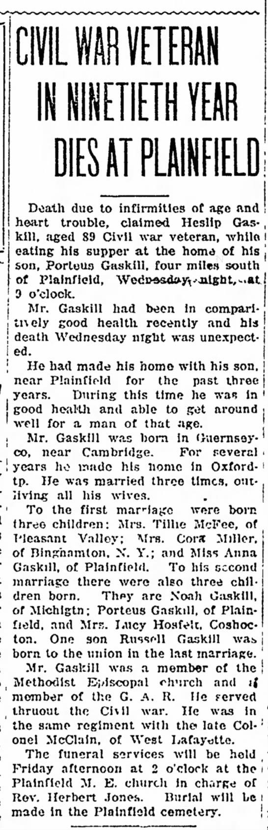 Death of Heslip Gaskill - cents than The OWL Id NINETIETH YEftR AT Doath...