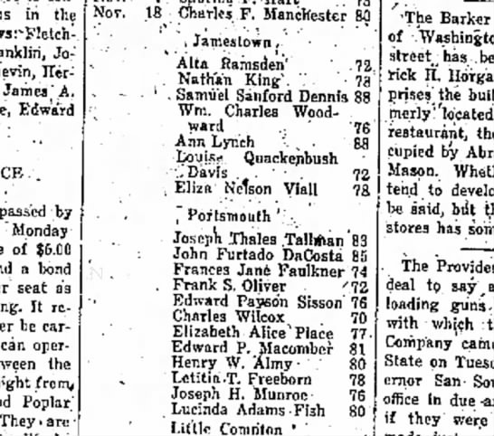 Newport Mercury 8 Jan 1921Deaths for 1920 - in the followsrFletch-. franklin, Joseph...