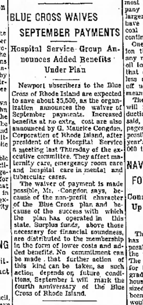 Newport Mercury August 20, 1943 - the announcement John the the and public BLUE...