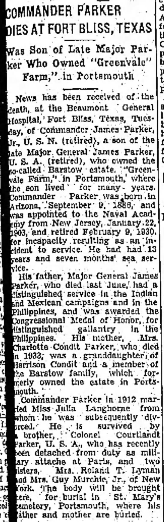 Mrs Guy Murchie's Jr family is from Portsmouth region - COMMANDER PARKER DIES AT FORT BLISS, is Son of...