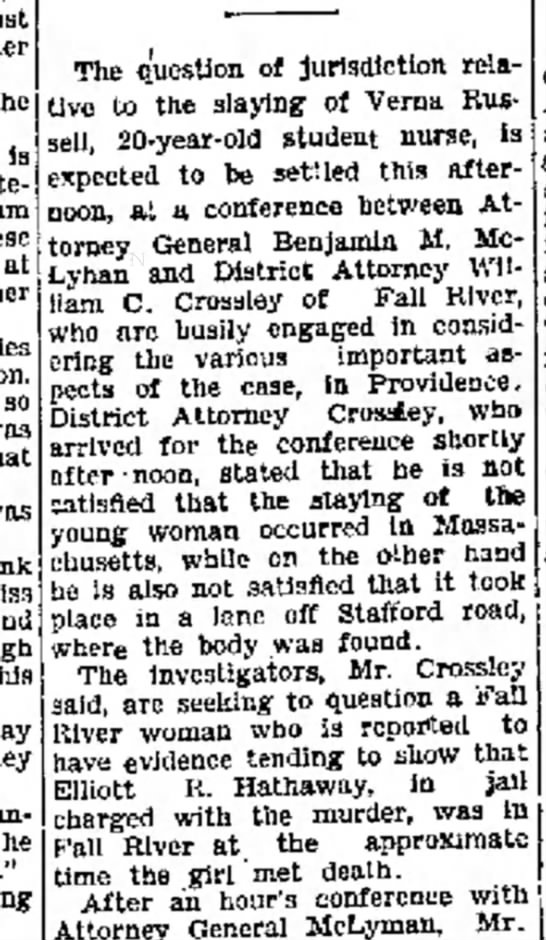 Elliott R Hathaway charged in murder of nurse 1931
