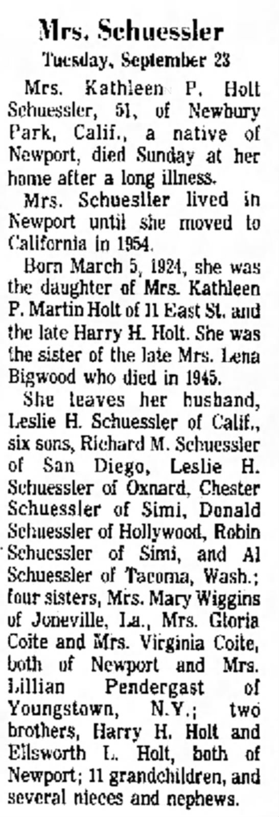 Kathleen Patricia Schuessler26 Sep 1975 Newport Mercury - for Art to M e d i c a l 65, Mrs. Schucssler...