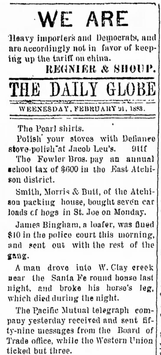 Atchison Daily Globe (Atchison, Kansas) 21 February 1883 - WE ARE Heavy importers and Doinoernh, ait aru...