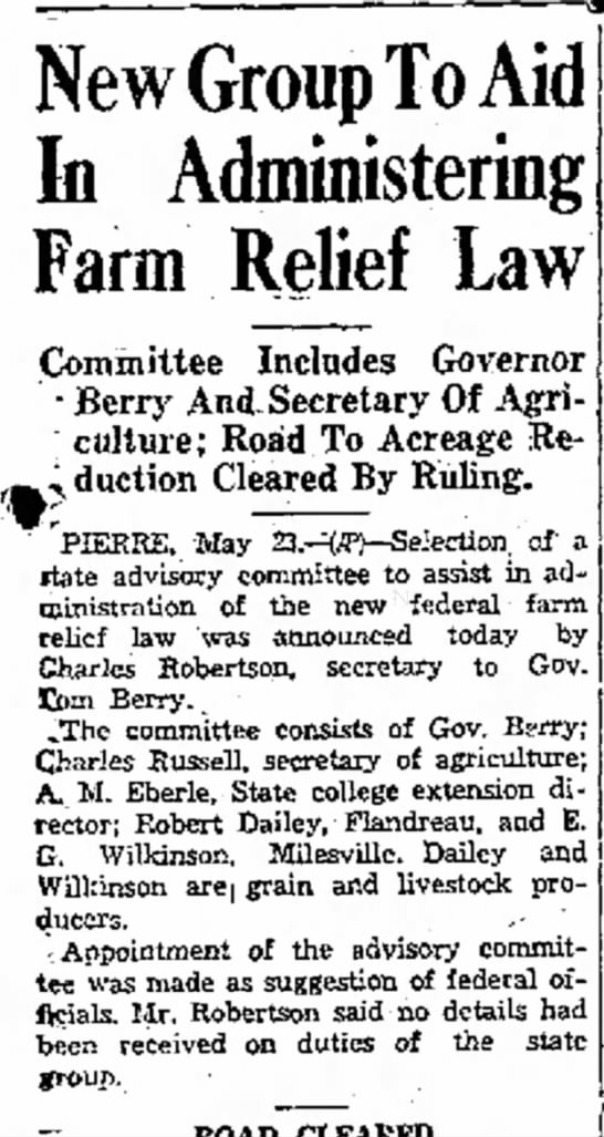 Robt Dailey & farm relief law - New Group To In Administering Farm Relief Law...