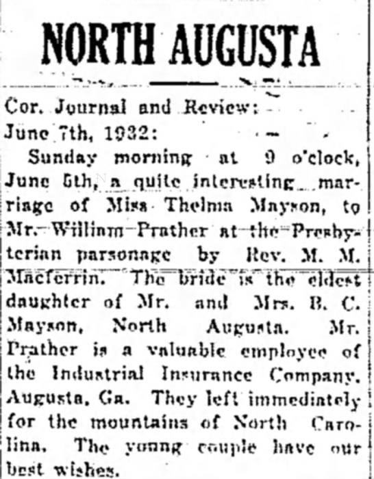 Prather - Mayson - NORTHAUGUSTA Cor. Journal and Review: June June...