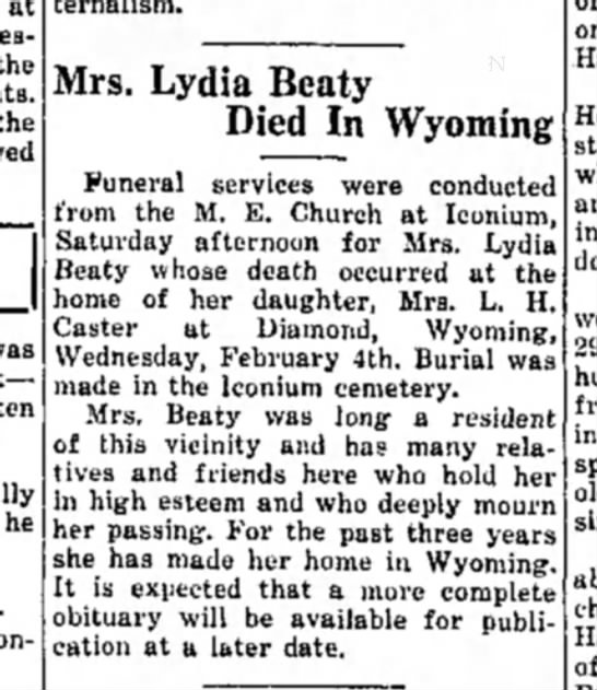 - at the he fraternalism. Mrs. Lydia Beaty Died...