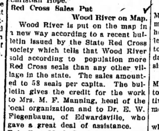 """Mrs M F Manning - Red Cross Sales Put s- / """"Wood River on Map...."""