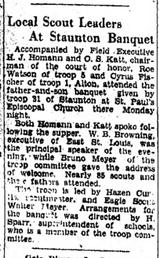 B F Meyer at Scout Banquet 3 Mar 1931 - Local Scout Leaders At Staunton Banquet...