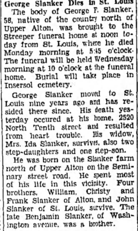 (Ida Schultz) George Slanker obit - George Blanker Dies In St. Louis The body of...