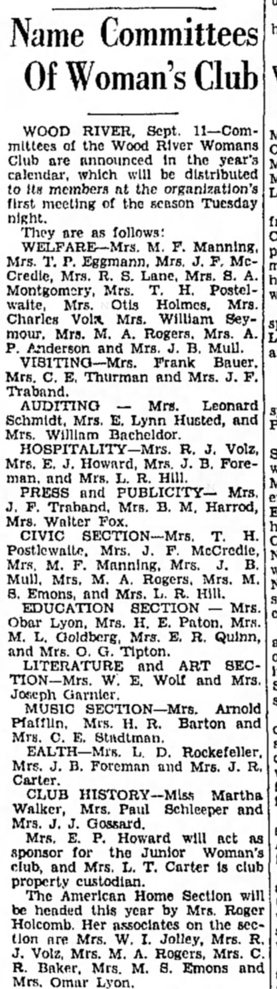 Mrs M F Manning - Name Committees Of Woman's Club WOOD RIVER,...
