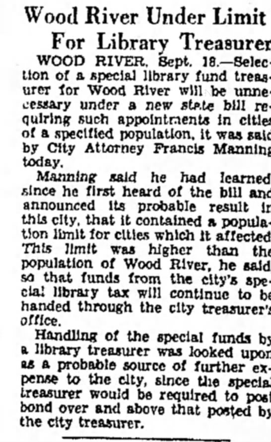 F Manning - Wood River Under Limit For Library Treasurer...