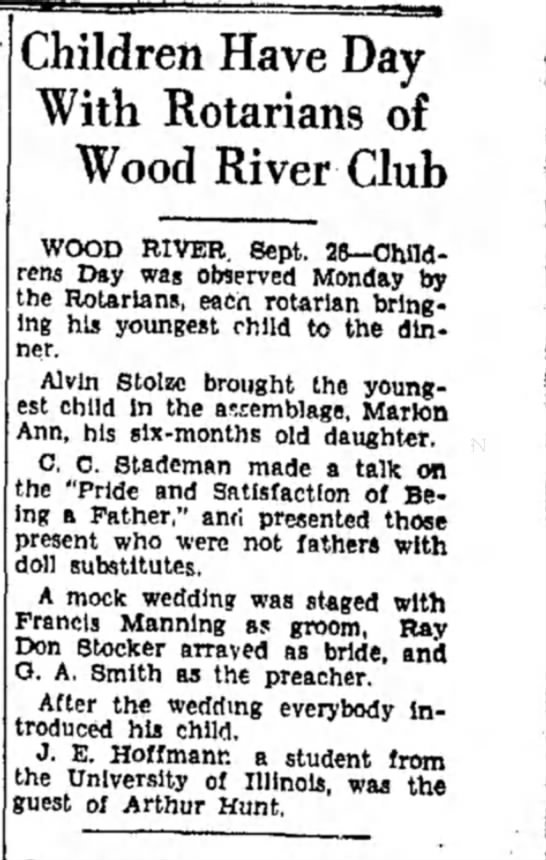 F Manning - Children Have Day With Rotarians of Wood River...