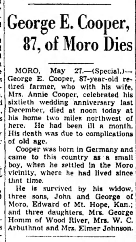 - George E. Cooper, 87, of Moro Dies MORO, May...
