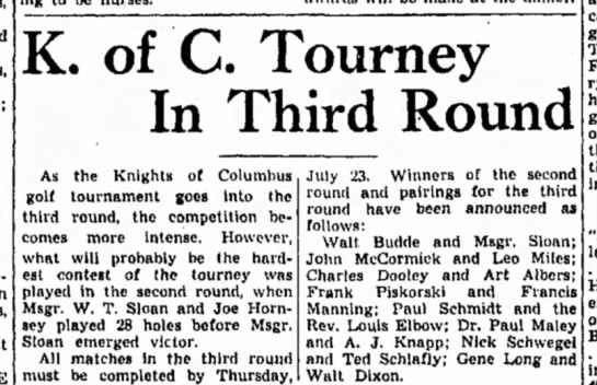 F Manning, KC - K. of C. Tourney In Third Round As the Knights...