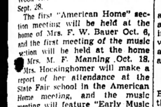 "Mrs M F Manning - Sept. ^8. The first ""American Home"" section..."