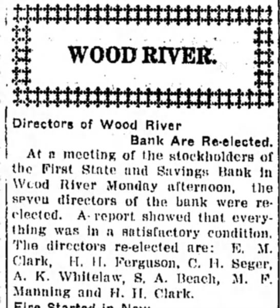 M F Manning - Directors of Wood River Bank Are Re-elected. At...