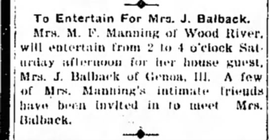 Mrs M F Manning - To Entertain For Mrs. J. Balback. Mrs. M. F....
