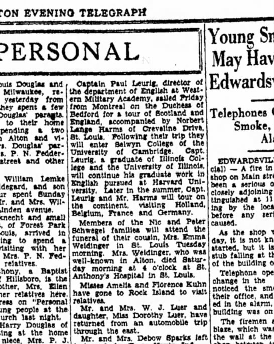 Paul Leuig 1932 trip - EVENING TELEGRAPH PERSONAL Louis Douglas and...