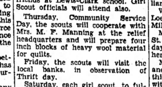 Mrs M F Manning - to the better has furnish Scout officials will...