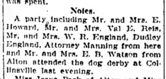 F Manning - Note*. A party Including Mr. and Mrs. 1C....