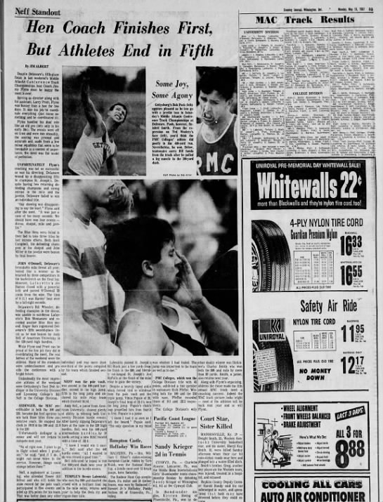 Article about 1967 MAC's. - INfeff Standout Hen Coach Finishes First, But...