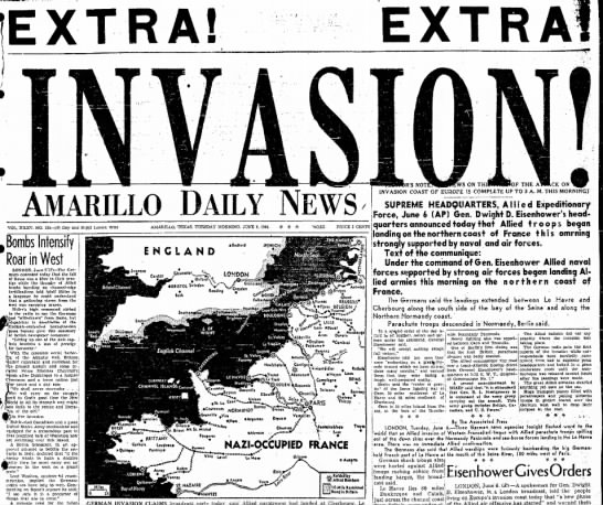 D-Day INVASION! - E X T R A ! E X T AMARILLO DAILY NEWS DR'S...