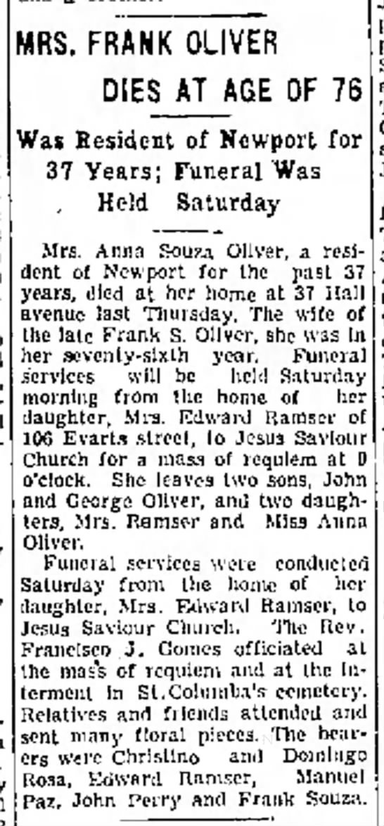 - with O. MRS. FRANK OLIVER DIES AT AGE OF Was...