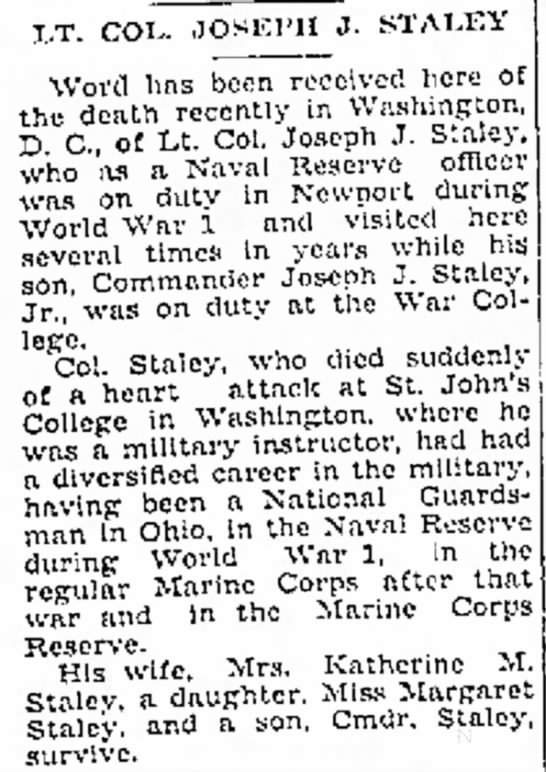 - LT. COL. .JOSEPH J. STALEY Word lias been...