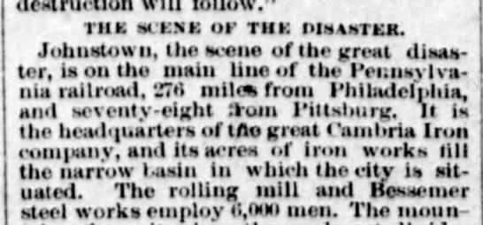 Cambria Iron Company is biggest employer in Johnstown at time of 1889 flood - iiik scx.nk or Tin: disaster. Johnstown, the...