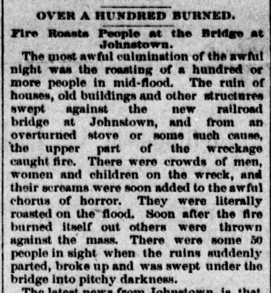 Fire breaks out during Johnstown Flood of 1889 - OVEK A IIUKDHED BUltXED. FIre Reasta People at...