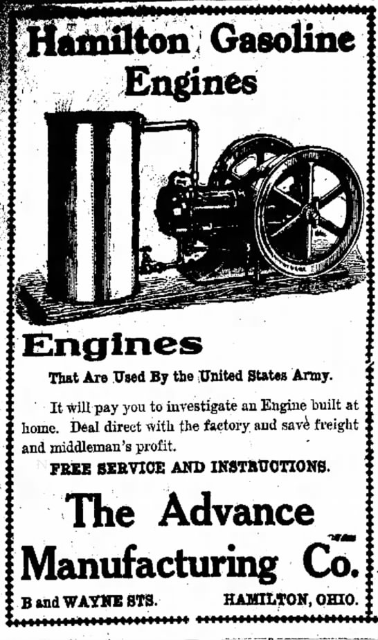 Hamilton Gasoline Engines The Advance Manufacturing Co - [afnUton Gaso Engines That Are .Used By the...