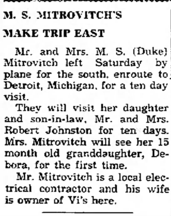 Mitrovitch visit Detroit 1951 - M. S. MITROVITCH'S MAKE TRIP EAST Mr. and Mrs....