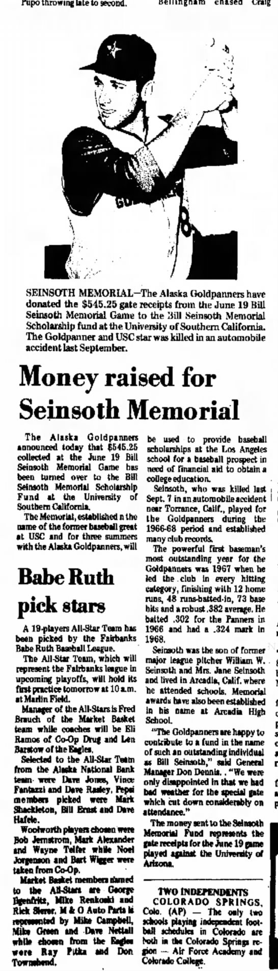 Fairbanks Daily News-Miner, 11 Jul 1970 - William Robert Seinsoth Memorial - Pupo throwing late to second. Bellingham chased...