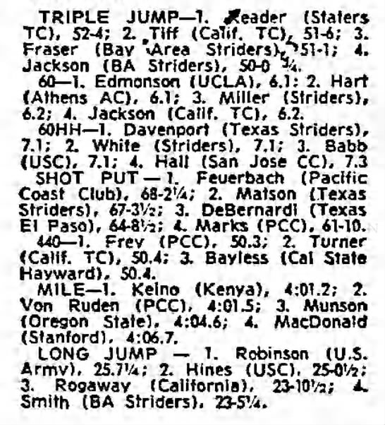 1-21-72 SF Examiner Indoor - TRIPLE JUMP 1. deader (Slaters TO, 52-4; 52-4;...