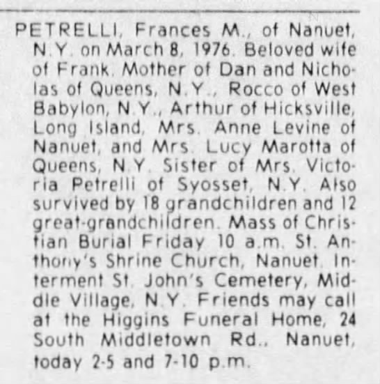 The Journal News (White Plains, New York), 11 March 1976, Thursday, Page 19. - PETRELLI, Frances M., ot Nanuet, N.Y. on March...
