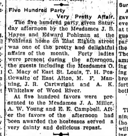 Mrs M F Manning - Hundreii Party , , , ,. Very/ Prfitty Affair,...