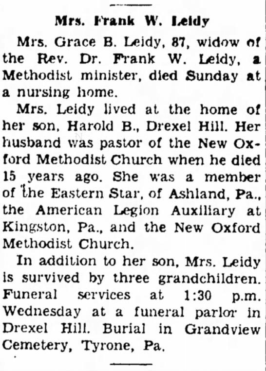 grace leidy - H o u r Sunday Mrs. (tank W. Leidy Mrs. Grace...